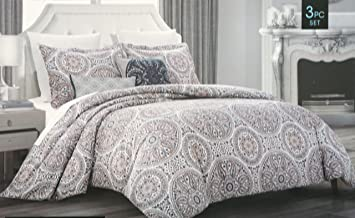cynthia rowley bedding 3 piece full queen duvet cover set round floral medallion pattern in