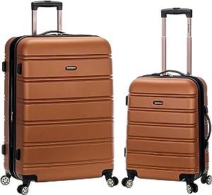 Rockland Melbourne Hardside Expandable Spinner Wheel Luggage, Brown, 2-Piece Set (20/28)