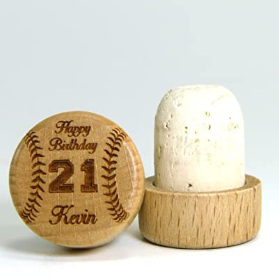 Laser Engraved Wood/Cork Wine Stopper - Birthday Gift Series