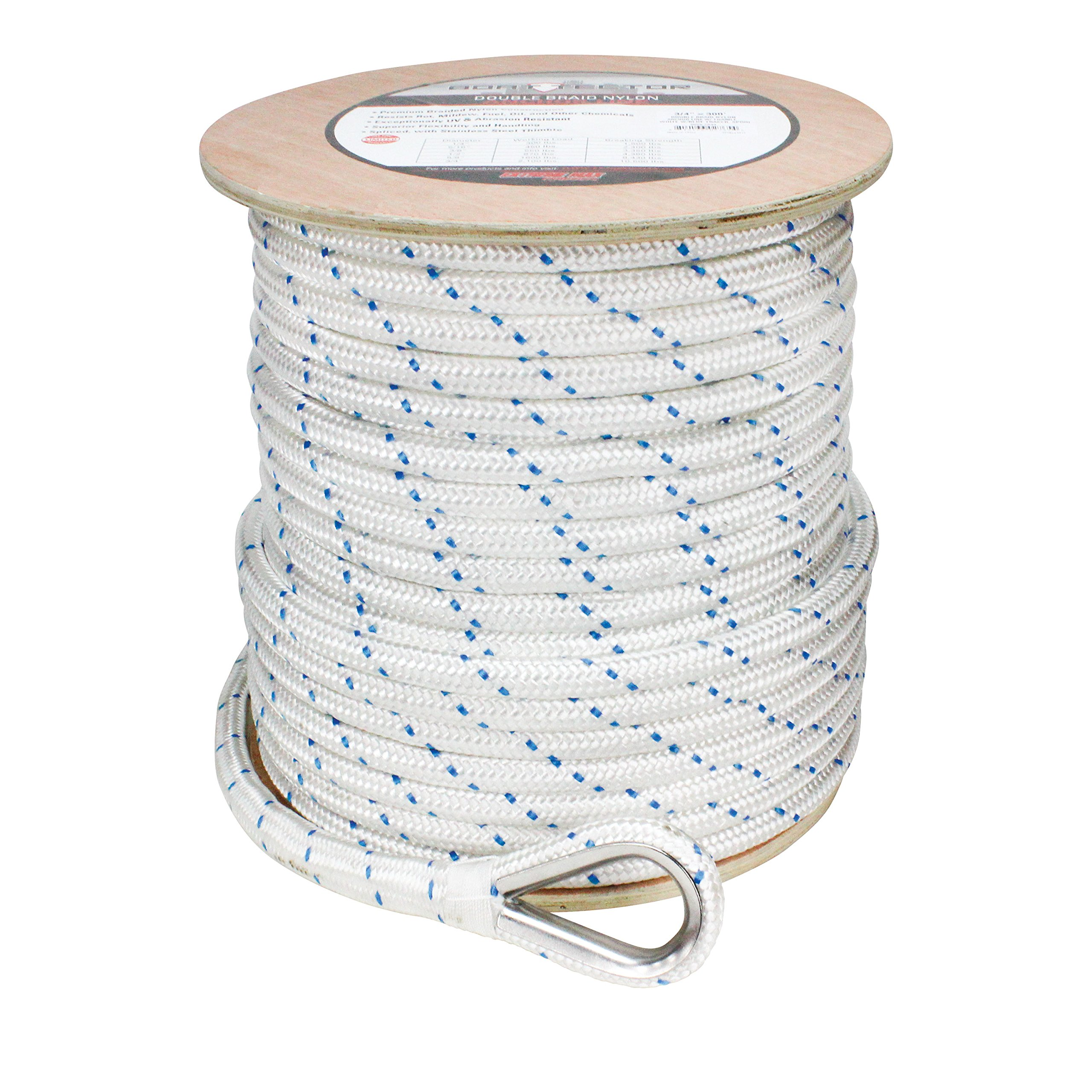 Extreme Max 3006.2535 White w/Blue Tracer 5/8'' x 250' BoatTector Double Braid Nylon Anchor Line with Thimble