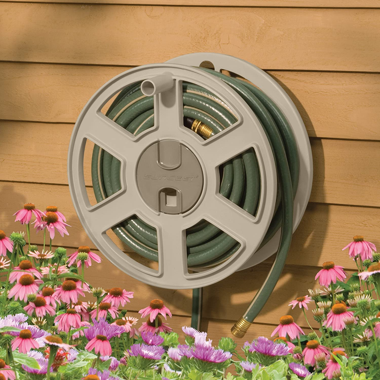 Suncast SWA100 100-Foot Garden Hose Capacity Wall-Mounted Sidetracker Hose Reel, Taupe: Amazon.es: Jardín