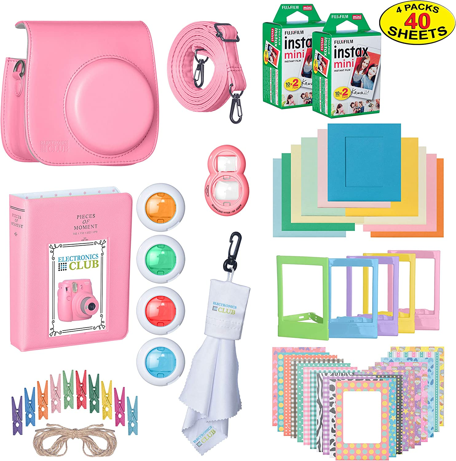 The Ultimate Accessories Kit Bundle for Fujifilm Instax Mini 9 Instant Film Camera | Includes Leather Camera Case + 100 Sheets of Instant Film + Photo Album + Frames + Close-Up Selfie Lenses + More