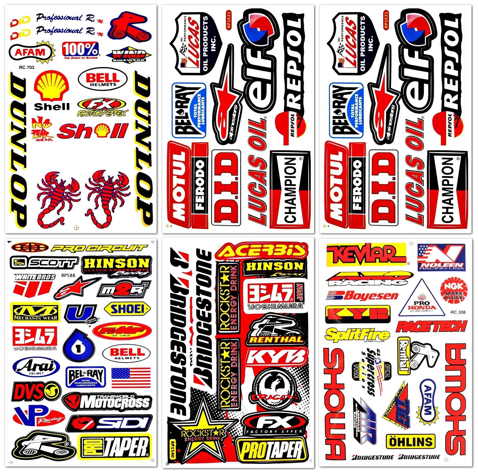 Dirt Bike Motorcycles Supercross Motocross ATV Lot 6 vinyl decals stickers D6015