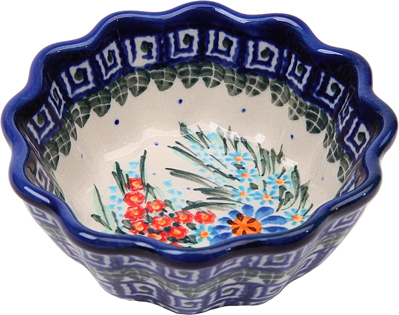 0413-169 Polish Pottery Ceramika Boleslawiec 0413//169 Royal Blue Patterns with Blue Daisy and Orange Phlox Motif Bowl Fala Small 5-3//4-Cup Lidia/'s Polish Pottery Inc
