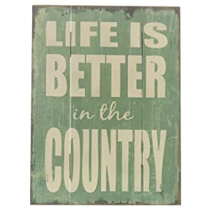 """Barnyard Designs Life is Better in The Country Wood Plaque, Primitive Country Farmhouse Home Decor Sign 16"""" x 12"""""""