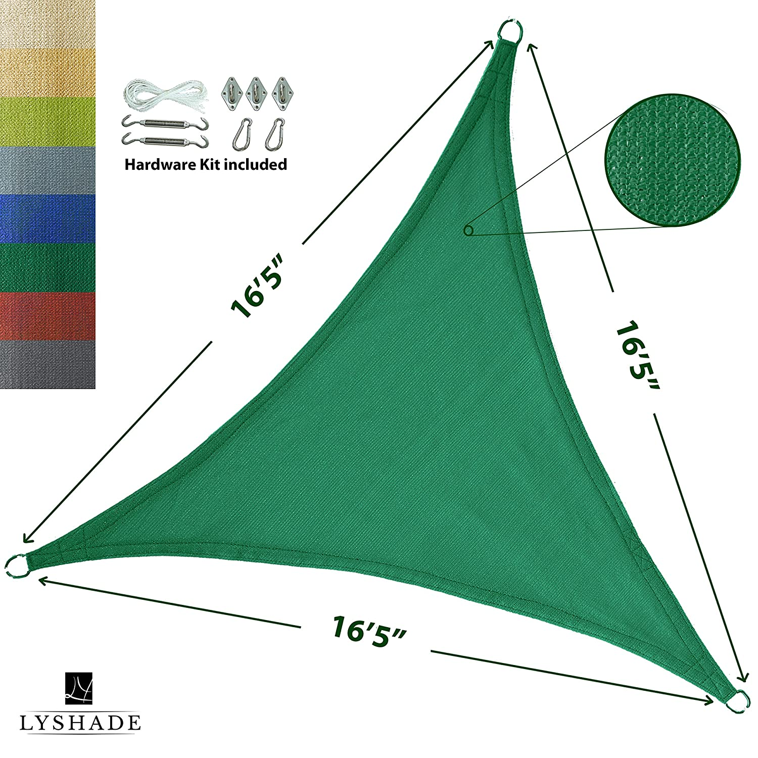 LyShade 16 5 x 16 5 x 16 5 Triangle Sun Shade Sail Canopy with Stainless Steel Hardware Kit Dark Green – UV Block for Patio and Outdoor