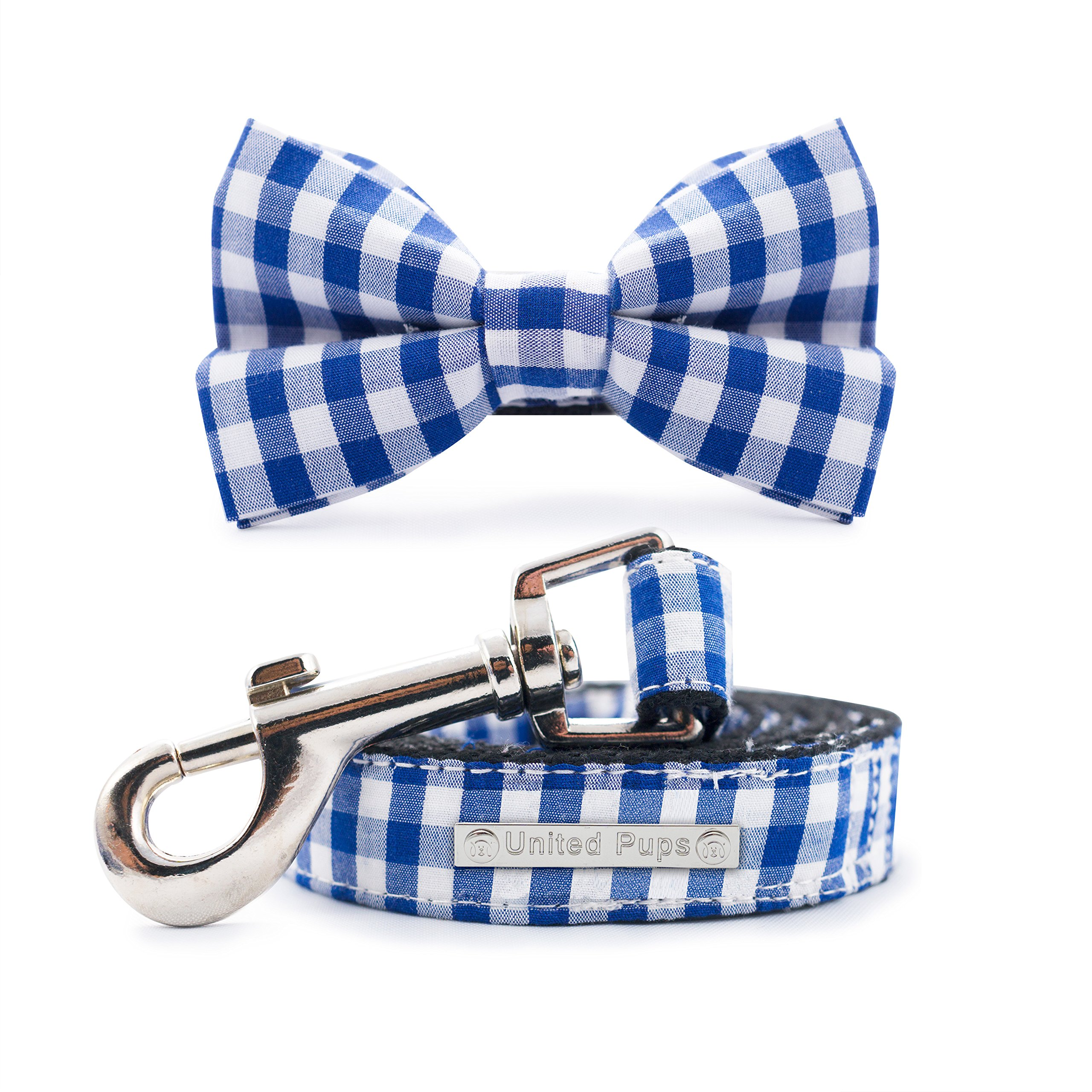 United Pups Modern Pups Blue Gingham Plaid Collar with Bow Tie and Leash (Small)