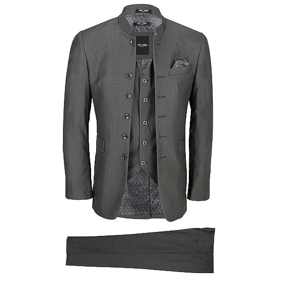 XPOSED Mens Grey Chinese Grandad Collar 3 Piece Suit Slim Fit ...
