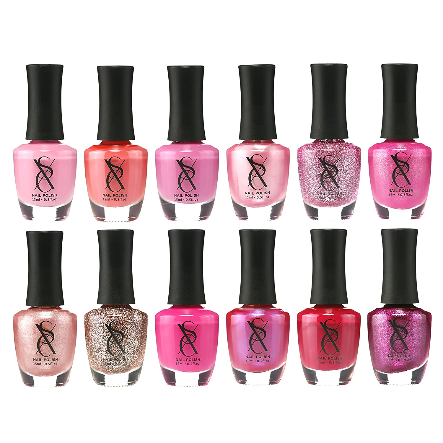 SXC Cosmetics Nail Polish Set, 12 Pink Shades 15ml/0.5oz Full Size Nail Lacquer Gift lot, Perfect Gift for Baby Shower