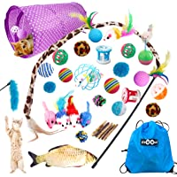 Ozoosh Pets 29 pcs Cat Toy Set w Cat Tunnel Feather and Teaser Wand Catnip Assorted Balls Mice Fish and Bell Toys for…