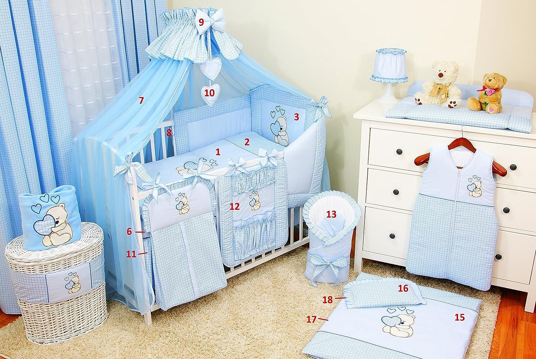 conjunto completo XXL de 18/piezas 100/% algod/ón Conjunto de ropa de cama para cuna de beb/é incluye mosquitera azul azul Talla:120x60cm dise/ño bordado de osito