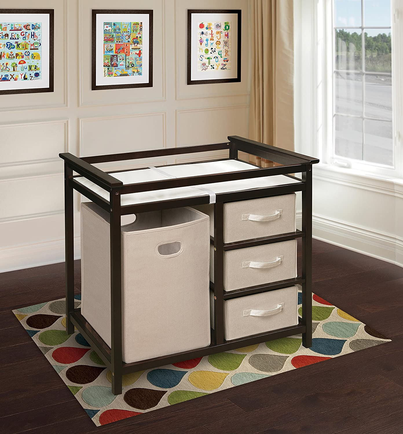 Amazon.com : Badger Basket Modern Changing Table With Hamper/3 Baskets,  Espresso : Baby