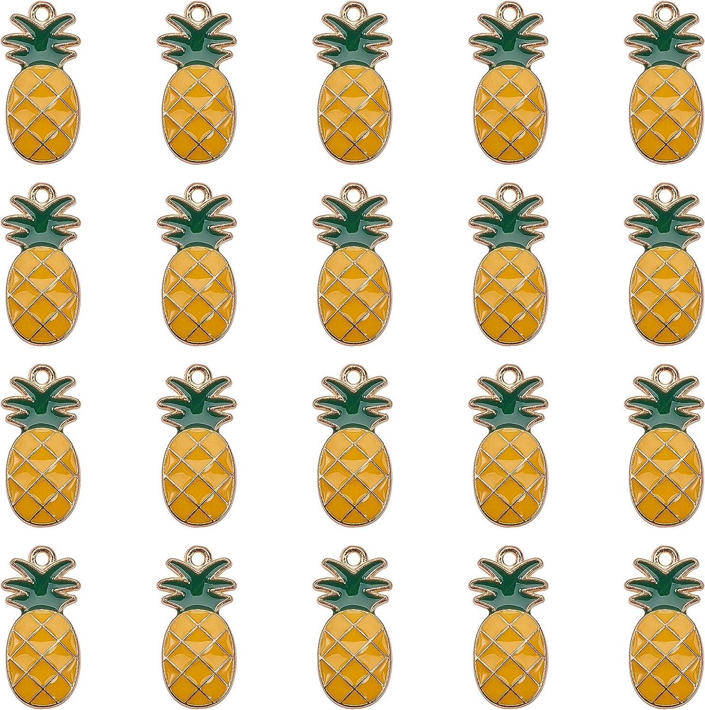 100pcs Alloy Enamel Pineapple Links Mini Charms Craft Jewelry Making 26.5x11.5mm