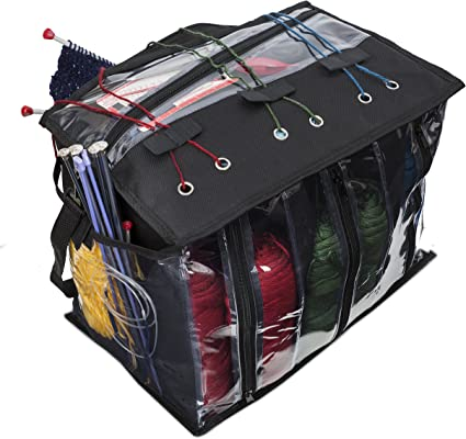 Foldaway Market Tote Shopping Project Knitting Bag Blue