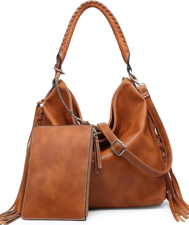 SHOMICO Womens Shoulder Bag Hobo Purse Crossbody Oversized Fringe Bags for Ladies Brown Large Big Tan