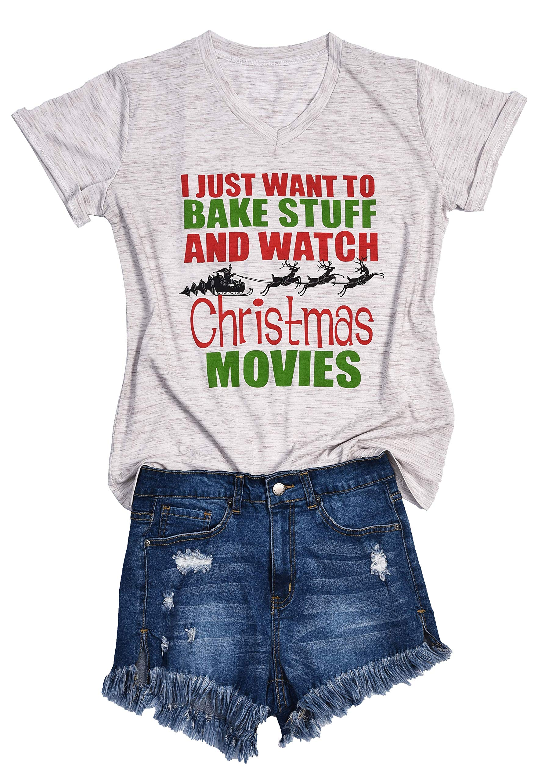 AOVXO Christmas Short Sleeve Shirts for Women Merry Christmas Shirt Hat Truck Reindeer Christmas Movie T-Shirt Meaningful Gift (Gray 4, XL)