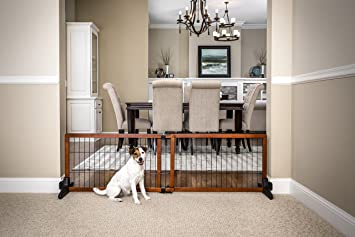 Carlson 68 Inch Wide Adjustable Freestanding Pet Gate, Premium Wood