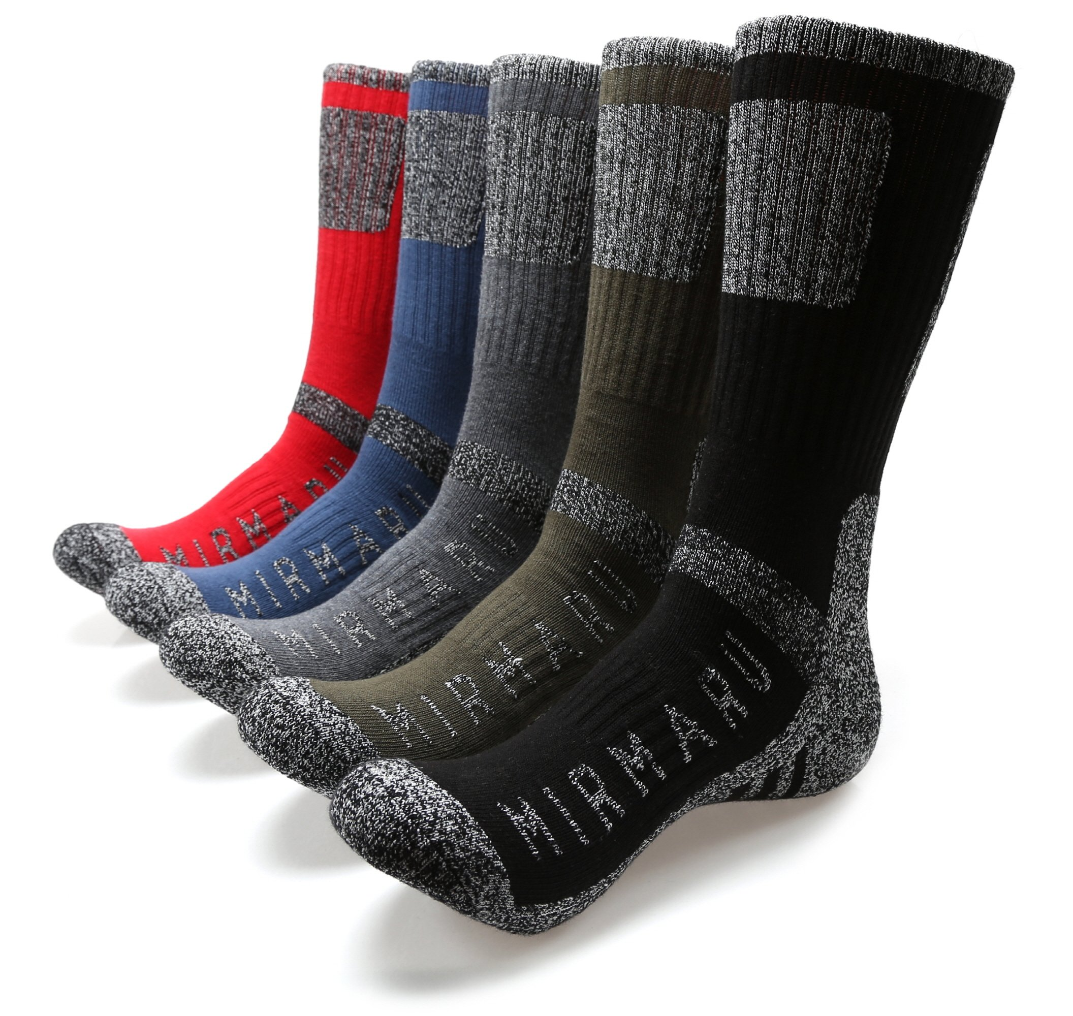 MIRMARU M203-Men's 5 Pairs Multi Performance Outdoor Sports Hiking Trekking Crew Socks (Black,Char,Olive,Blue,Red) by MIRMARU