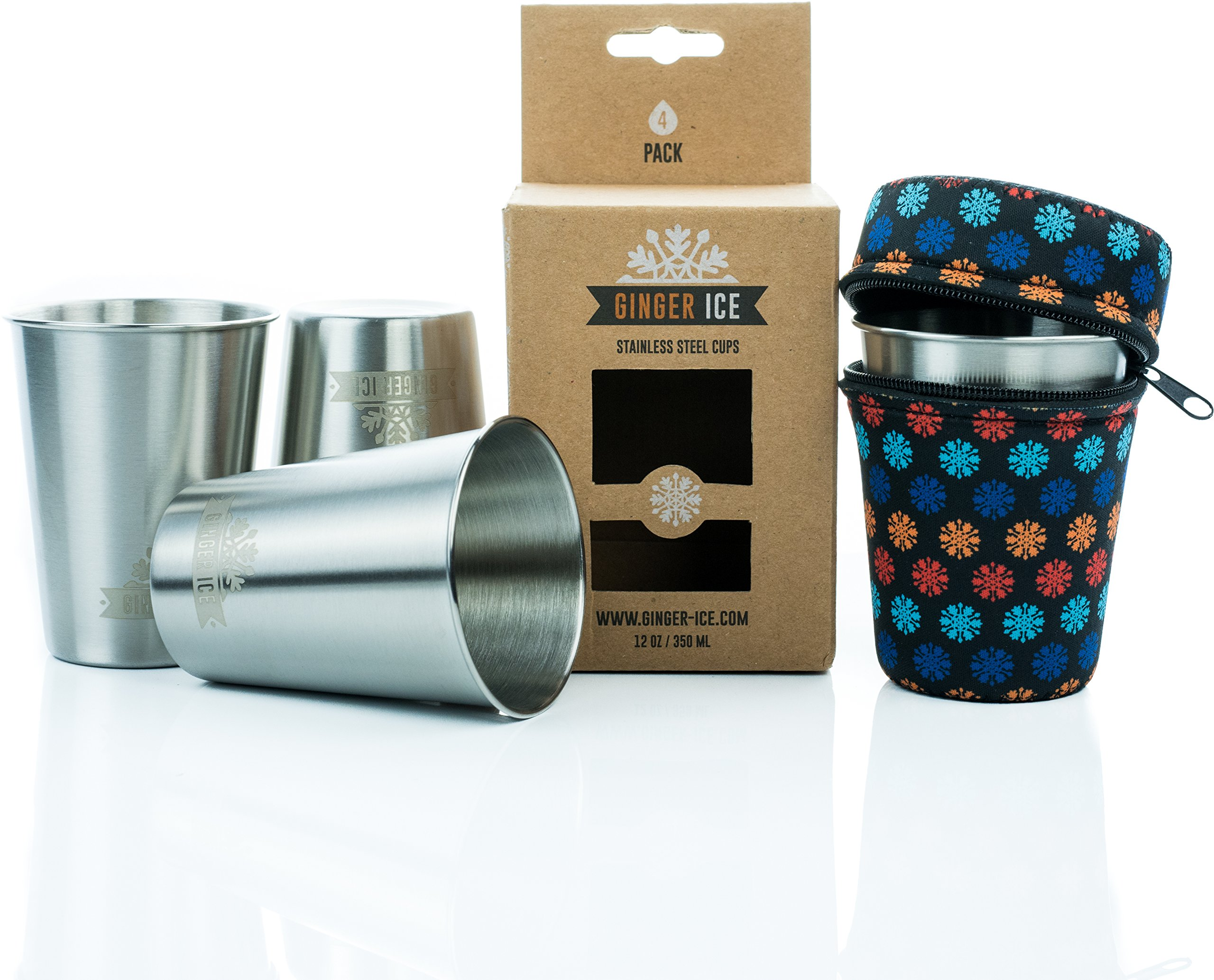 Stainless Steel Cups Multi Purpose Stackable Durable Safe Camping Travelling Metal Pint Mug Set with Insulating Carrying Case 12 Oz - 4 Pack + Pouch (Snowflake)