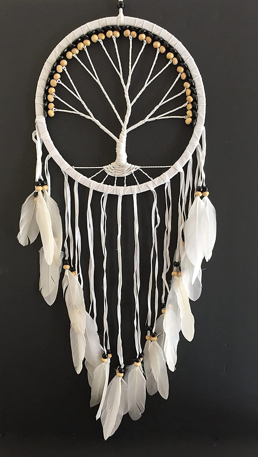 OMA Dream Catcher - Tree of Life White Suede Dreamcatcher Hand Crafted with Real Feathers & Wood Beads - Large Size - 36
