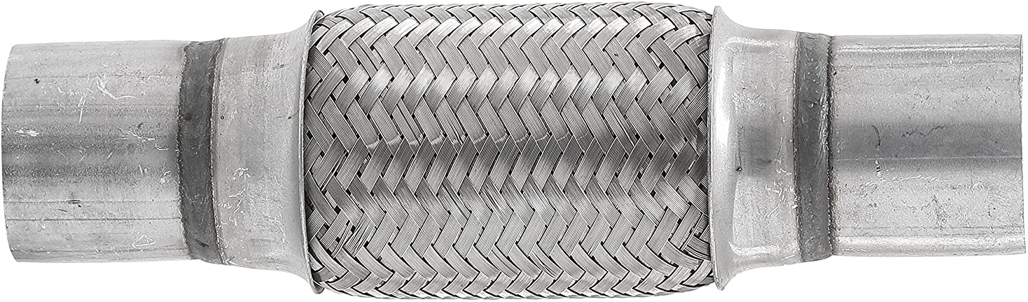 TOTALFLOW TF-N76100 Stainless Steel Double Braided Exhaust Flex Pipe-3 ID x 4 BL x 8 OAL-w//Extensions