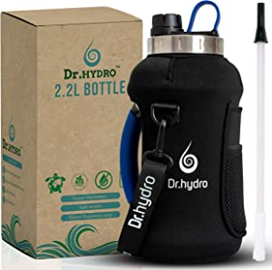 DR.HYDRO Half Gallon Water Bottle with Insulated Storage Sleeve and Silicon Handle- BPA Free Large Water Bottle 2.2L/74 Ounce Big Sports Bottle Jug with Handle, Reusable Bott