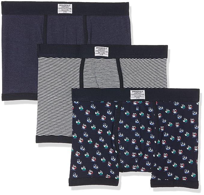 Springfield 1253115 Pack 3 boxers Tiburón y Flotador, Hombre, Azul (Gama azules)