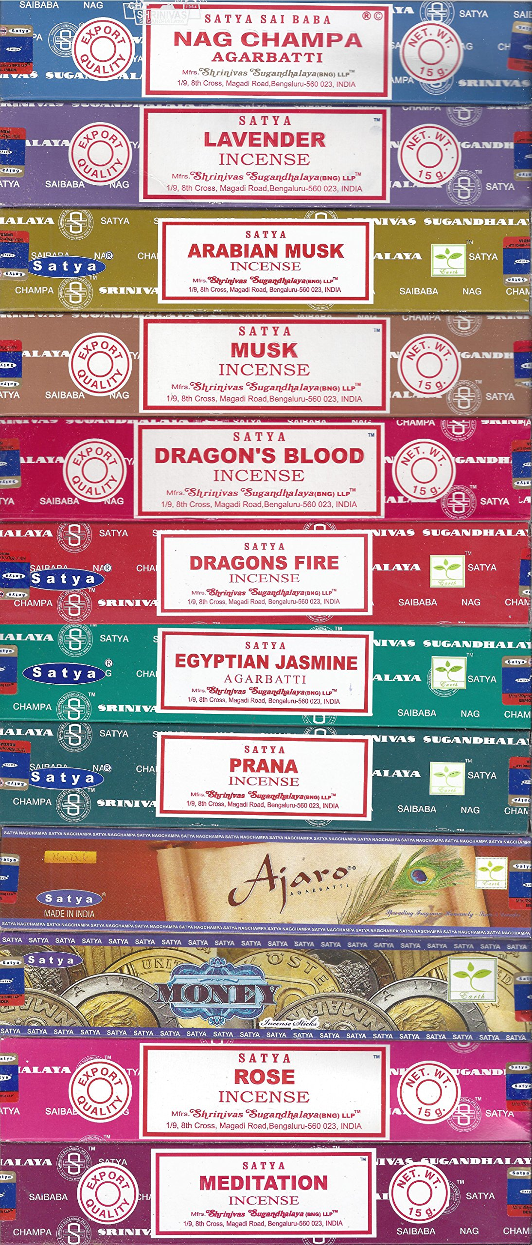 Set of 12 Nag Champa, Lavender, Arabian Musk, Egytian Jasmine, Musk, Dragon's Fire, Dragon's Blood, Prana, Ajaro, Money, Rose, Meditation by Satya