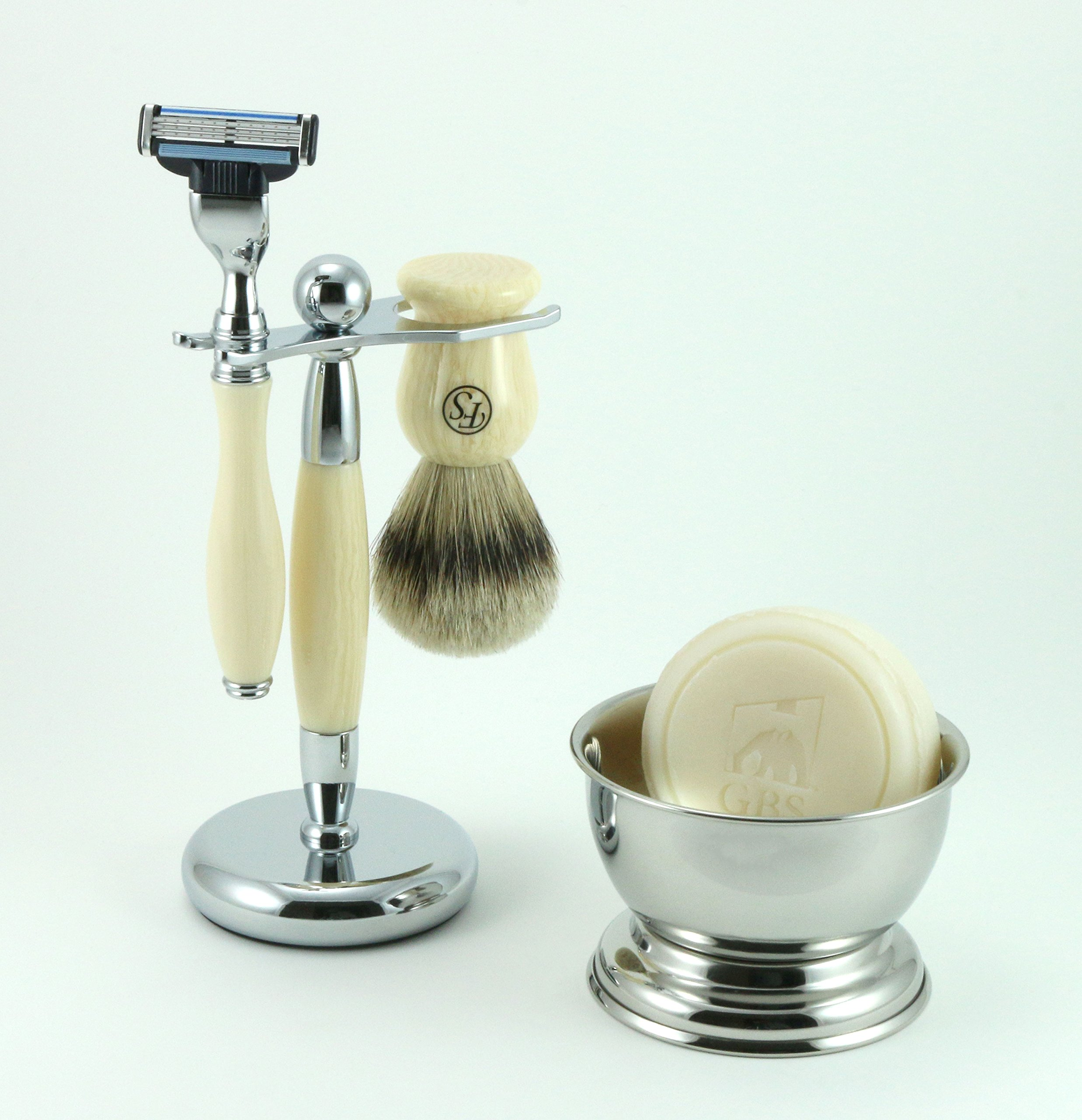 Men's Grooming Set with Fs 100% Silvertip Badger Ivory Brush, Ivory Brush and Razor Stand, Mach 3 Razor, 97% All Natural Gbs Ocean Driftwood Shave Soap, and Chrome Bowl