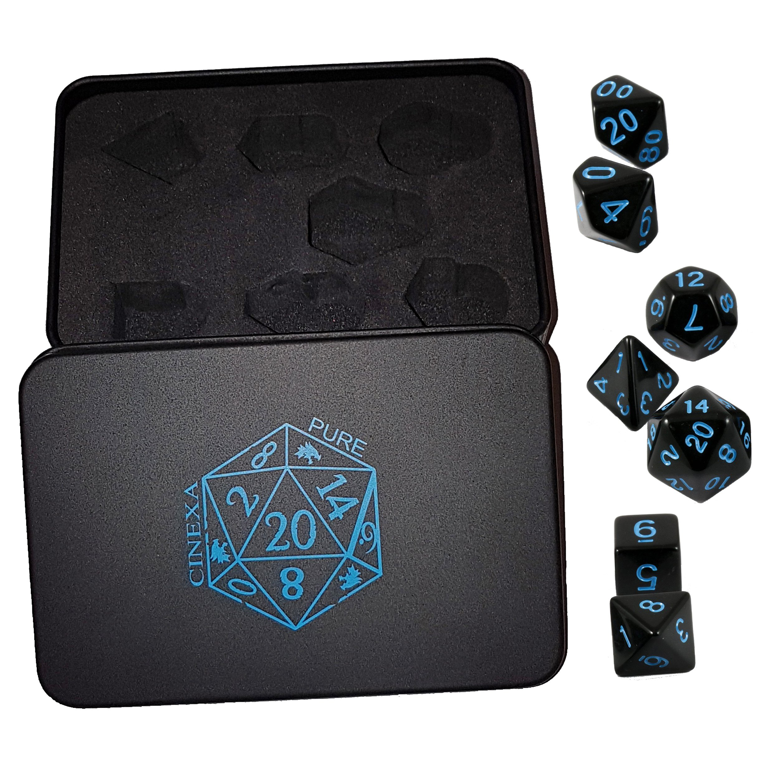 Polyhedral Metal Dice 7 Piece Set, Black and Bright Blue Numbers, For Dungeons and Dragons, MTG, Pathfinder and other role playing games, In A Collectible Tin, By Cinexa Pure