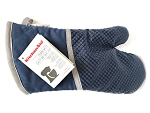 KitchenAid Cotton Oven Mitt, Microfiber Lined, Printed Grid Silicone Grips (Blue Willow)