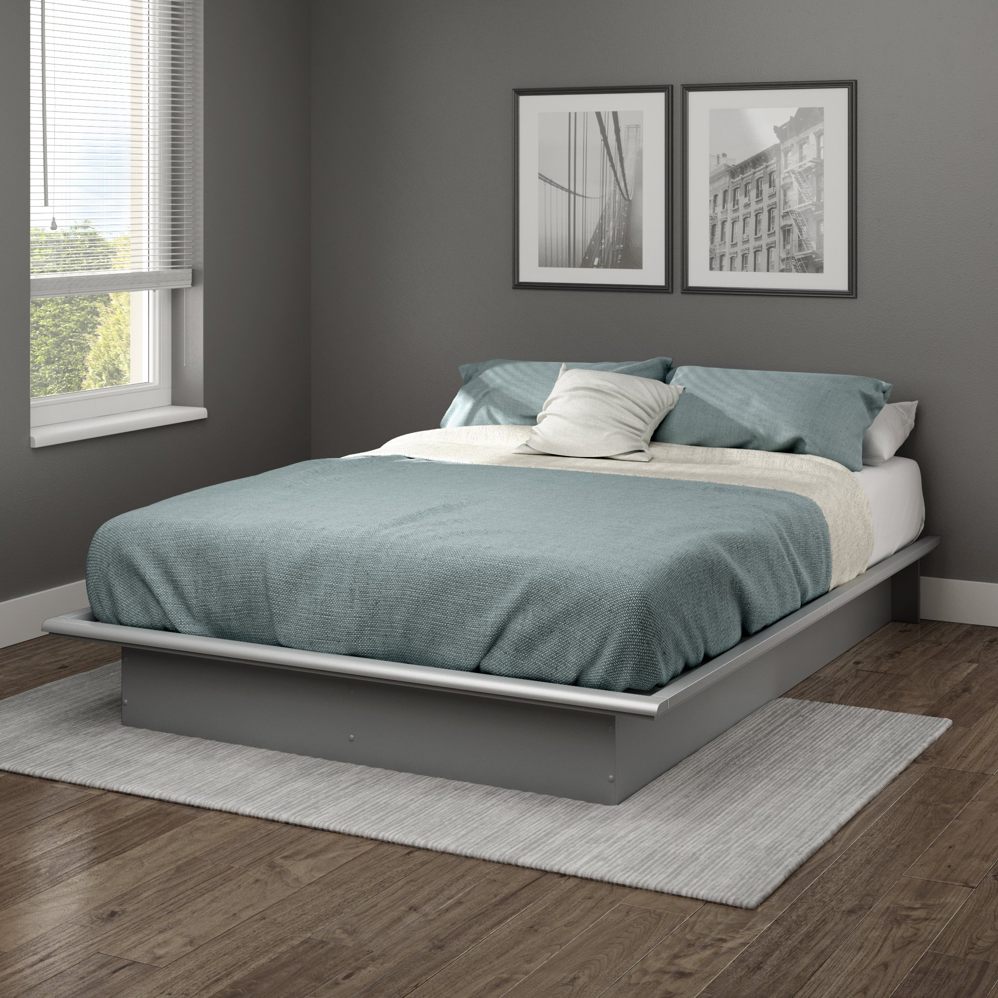 South Shore 10439 Step One Full Platform Bed (54''), Soft Gray, 54'', by South Shore