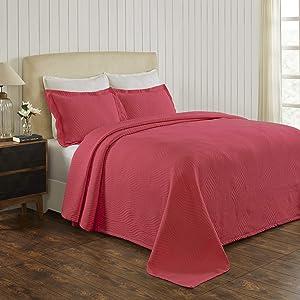 Superior Cotton Cascade Jacquard Bedspread with Pillow Shams, Cranberry