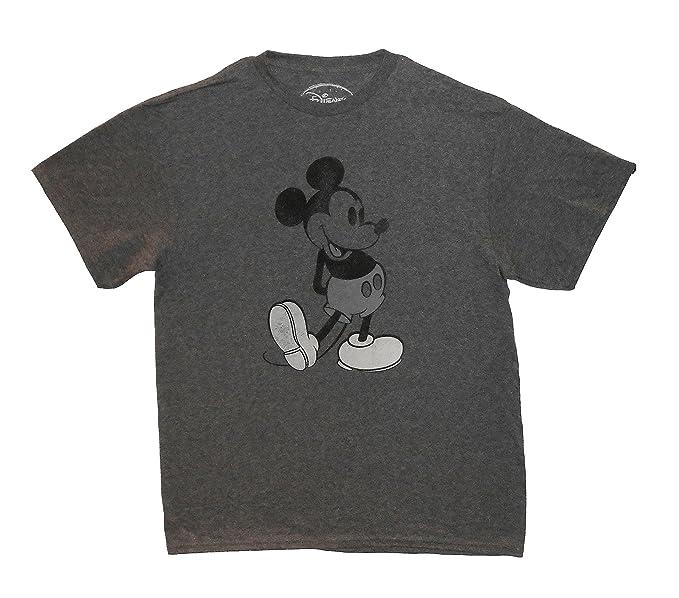 772dc7c0 Disney Men's Vintage Mickey Mouse T-Shirt Small Dark Heather Grey