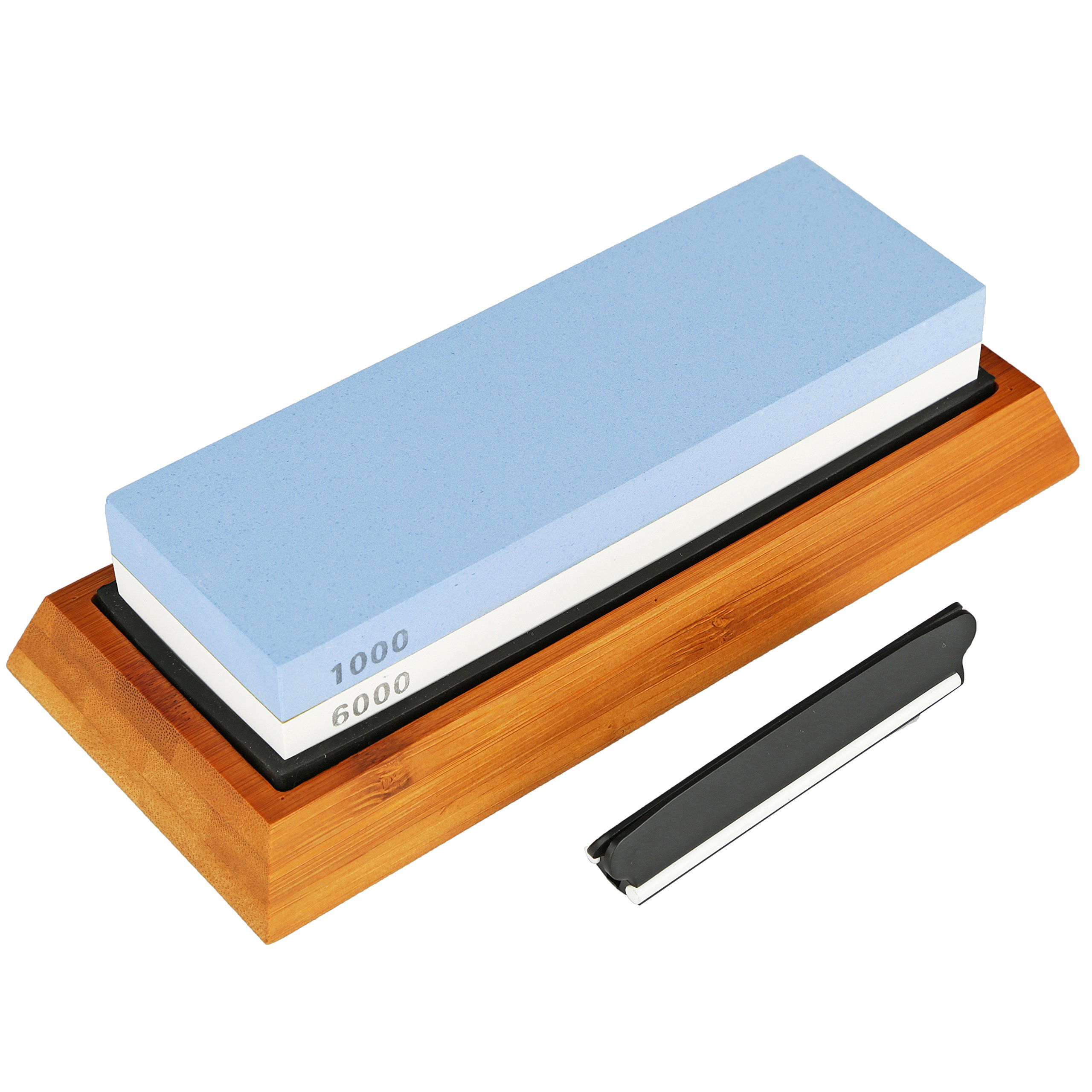Whetstone Knife Sharpening Stone - 2 Sided 1000/6000 Grit Waterstone Knife Sharpener, Includes Non Slip Rubber and Bamboo Base with Bonus Angle Guide by Kruger Home