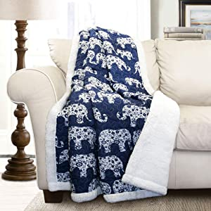 "Lush Decor Navy and White Elephant Parade Throw Fuzzy Reversible Sherpa Blanket 60"" x 50, 60 x 50"