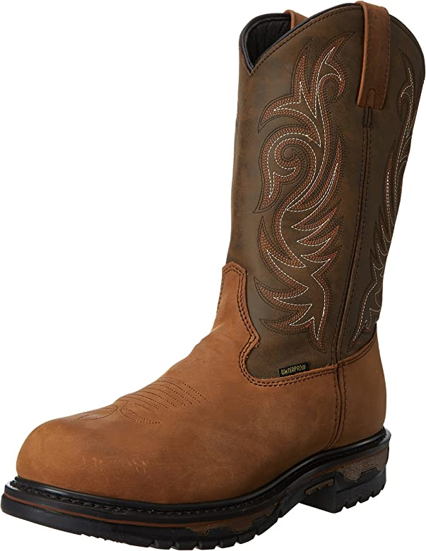 Western Round Toe Work Boots Tan