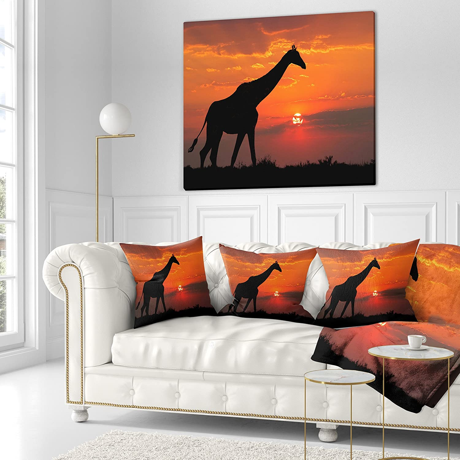 in Sofa Throw Pillow 18 in x 18 in Designart CU12938-18-18 Giraffe Silhouette at Sunset African Cushion Cover for Living Room