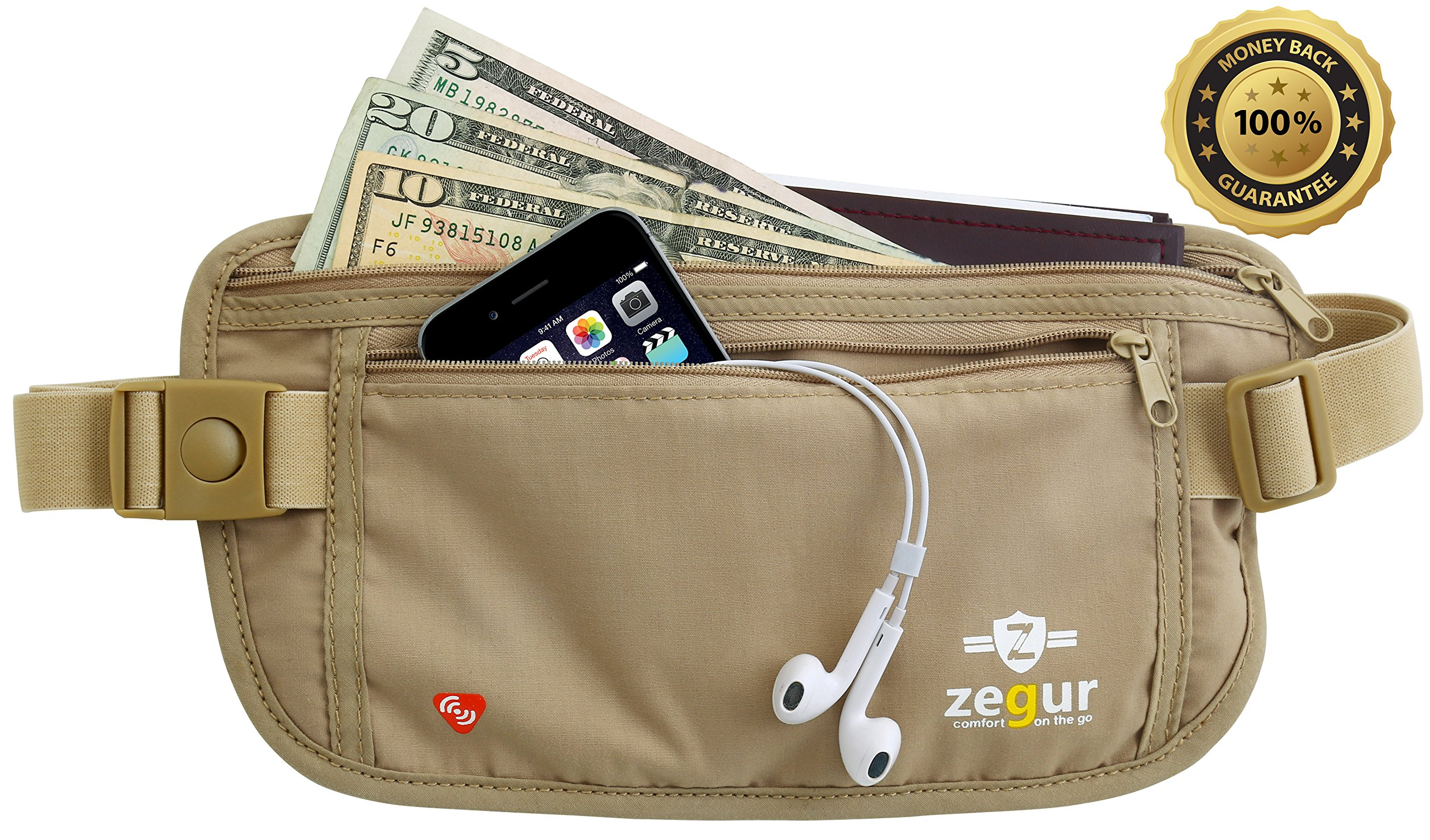 Zegur Tm Lightweight High Quality Undercover Beige Waist Money Belt Pouch - With RFID BLOCKING TECHNOLOGY Sleeves, Best to Protect Yourself From Travel Theft - Wallet Stash Made From Special ANTI SWEAT Cotton Material for Breathable & Moisture-wicking - E