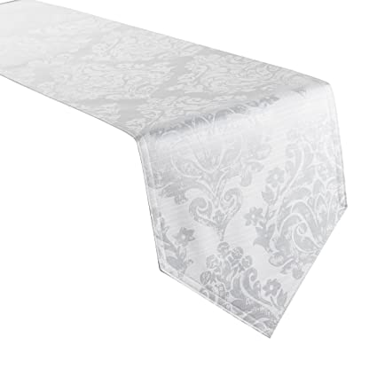 Christmas Table Runner Uk.Palazzo Damask Snow White Christmas Table Runner 13x72in 33x183cm Approx