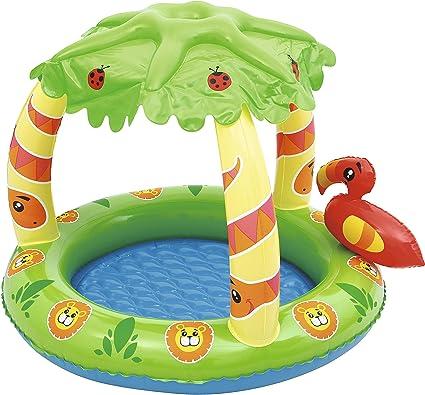 Piscina Hinchable Infantil con Parasol Bestway Friendly Jungle: Bestway 52179 - Babypool mit Palmendach, aufblasbarer Boden, UV- Schutz, 99 x 91 x 71 cm: Amazon.es: Jardín
