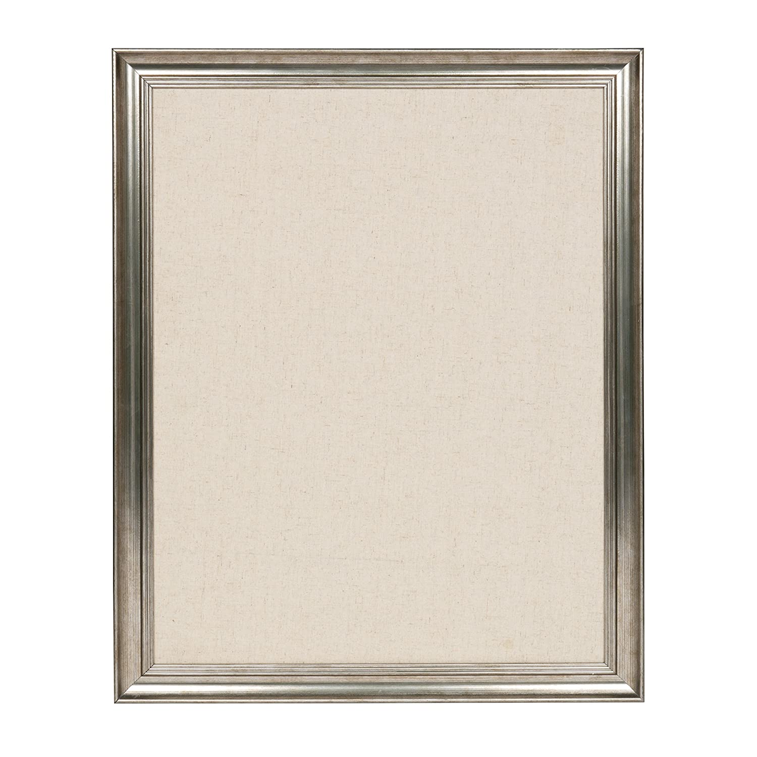 DesignOvation Macon Framed Linen Fabric Pinboard, 18x27, Pewter Uniek 211671