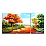 Amazon Price History for:VASTING ART Hand Painted Modern Abtract Framed Canvas Wall Art Oil Paintings Autumn Tree Blue Sky Ready to Hang for Living Room Wall Decor