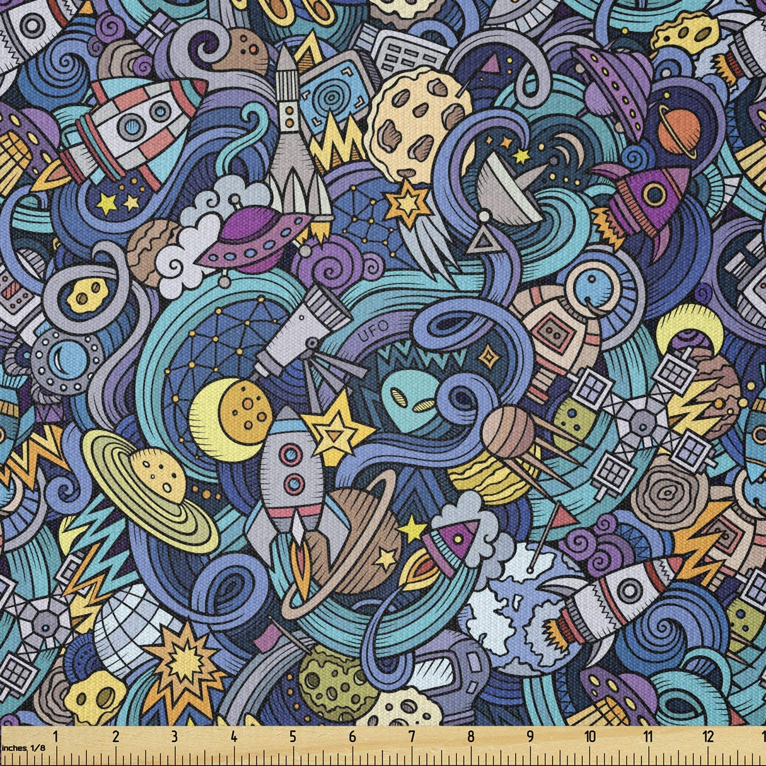 Lunarable Science Fabric by The Yard, Doodle Composition of Outer Space Themed Cartoon UFO and Rockets Alien Planets, Stretch Knit Fabric for Clothing Sewing and Arts Crafts, 2 Yards, Teal Purple
