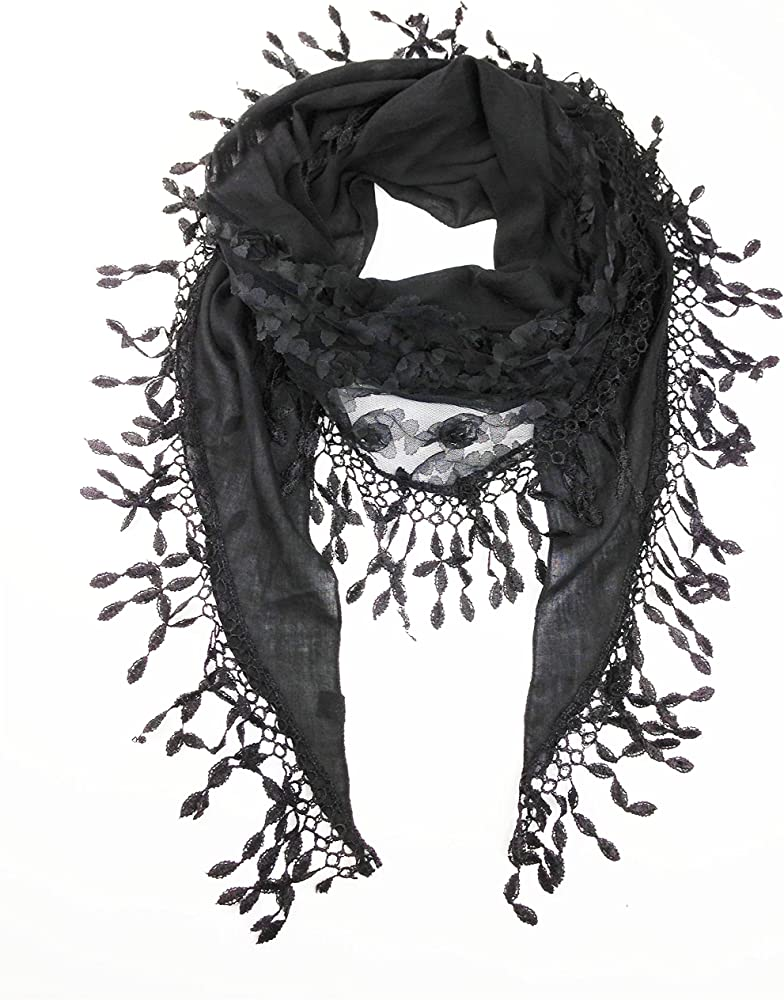 43c429d909400 Women's Lightweight Fancy Triangle Lace Scarf with Floral (Black) at ...