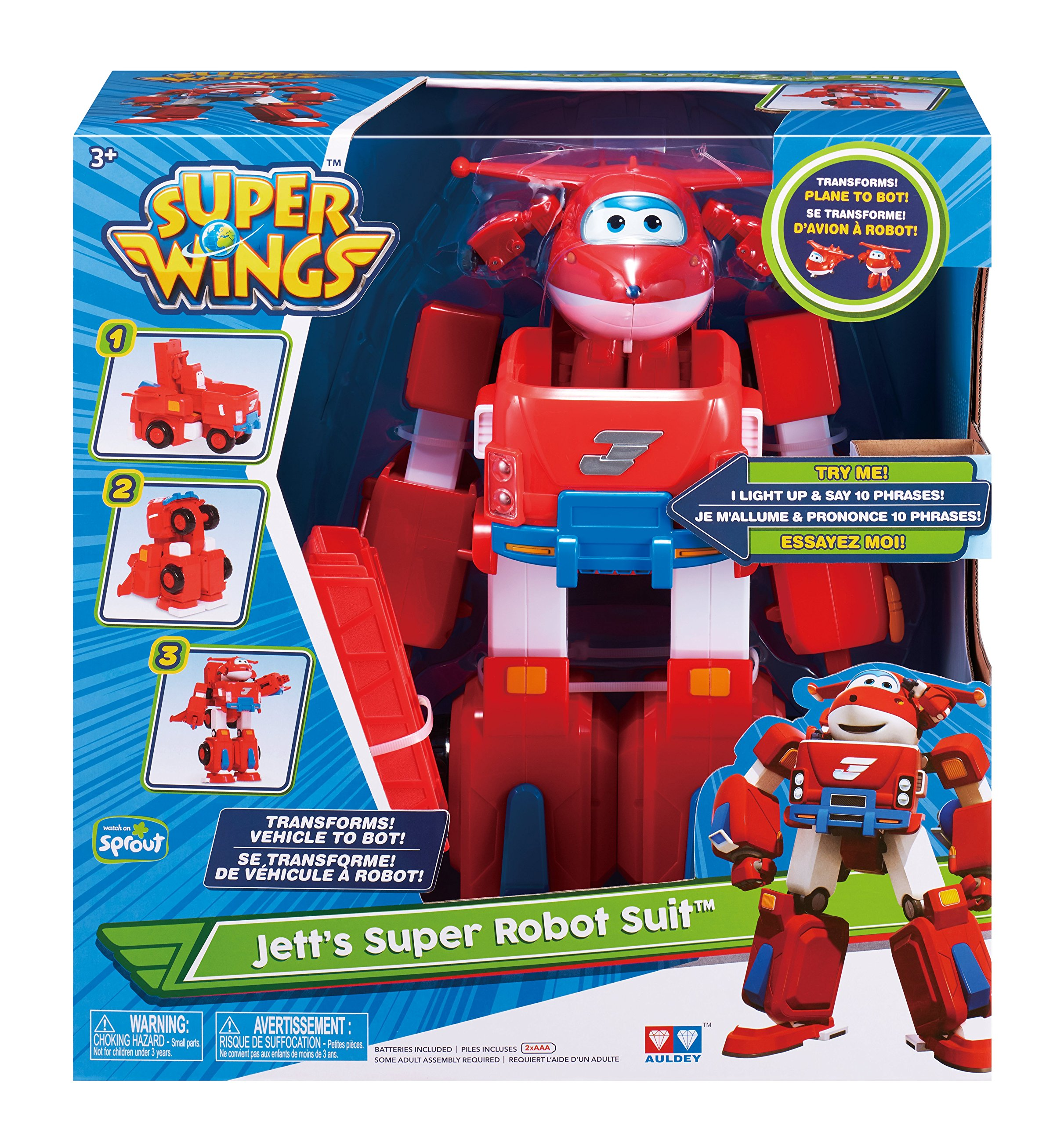 Super Wings - Jett's Super Robot Suit Large Transforming Toy Vehicle | Includes Jett | 5'' Scale by Super Wings - (Image #6)