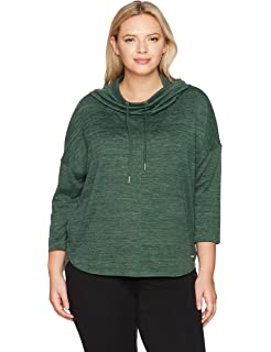 443fa8fba7e8f Calvin Klein Performance Women s Plus Size Cowl Neck Hoodie Curved Hem  Pullover