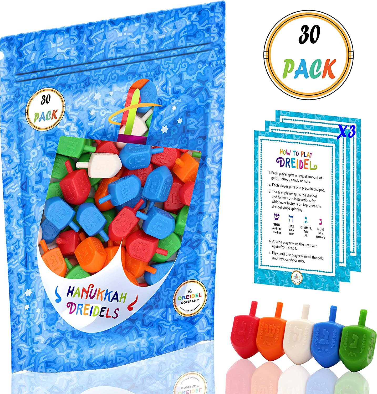 Hanukkah Dreidels Multi Color Wood Hanukkah Dreidels The Dreidel Company 10-Pack 100-Pack