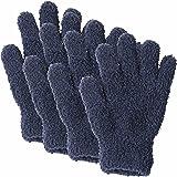 汚れをかき取る ふわふわ マイクロファイバー お掃除 手袋 (男・女・子供・家族で使える のびのび仕様) 4pセット