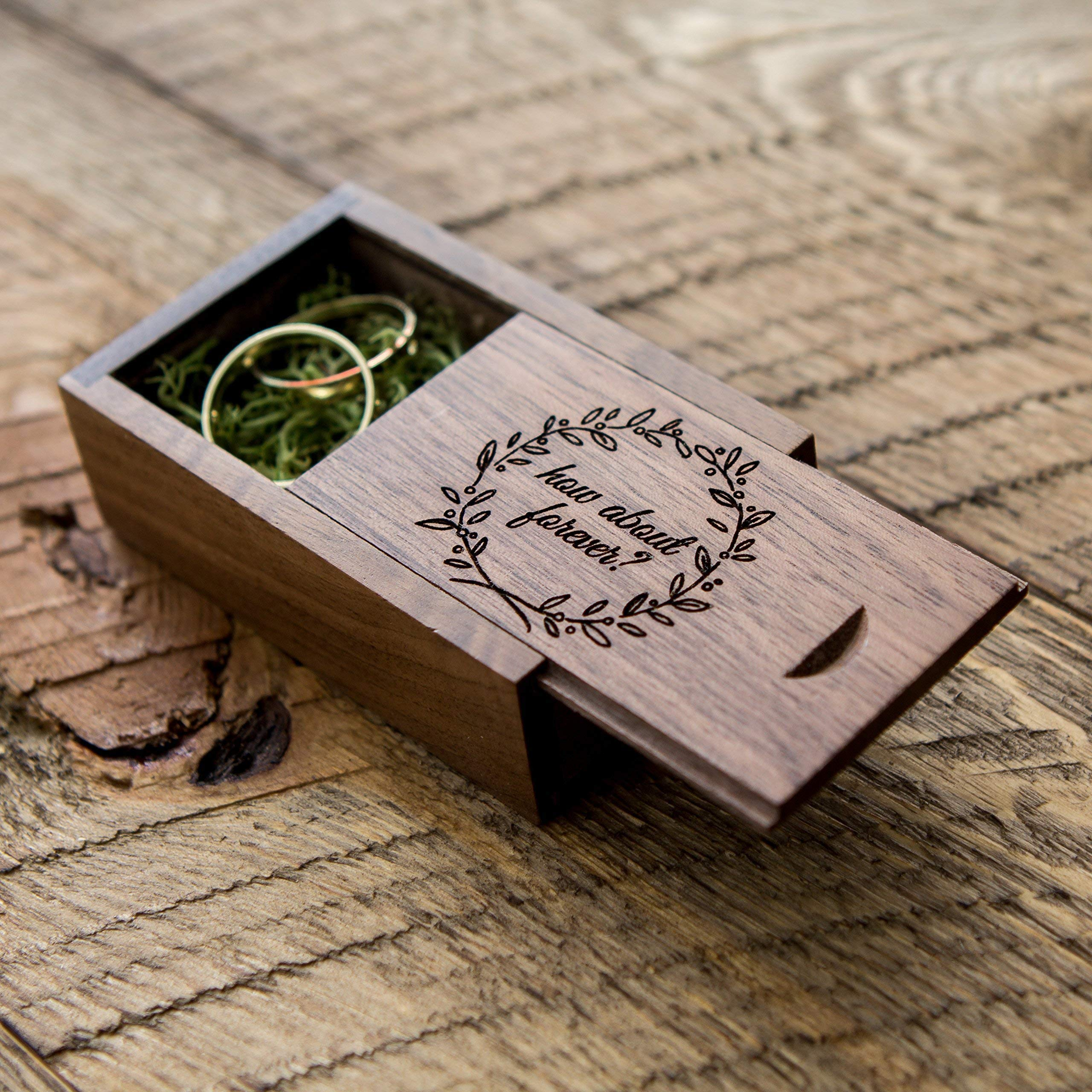 Engraved Walnut Wood Box with''how about forever?'' engraved and moss box filling (Wedding Ring Box, Small USB Box, Engagement Ring Box, Tiny Gift Box, Ring Bearer Box, Photo Prop, Proposal Box)